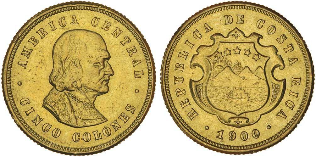 5 Colon Costa Rica Oro