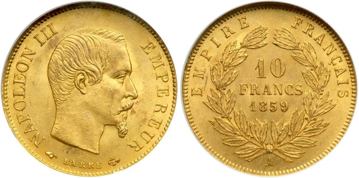 10 Franc 1859 Second French Empire 1852 1870 Gold Napoleon Iii