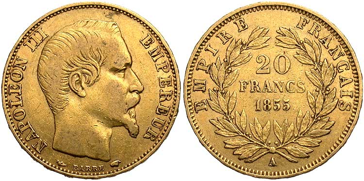 20 Franc 1855 Second French Empire 1852 1870 Gold Napoleon Iii