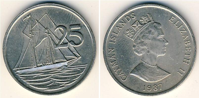 25 Cent Cayman Islands Copper Nickel