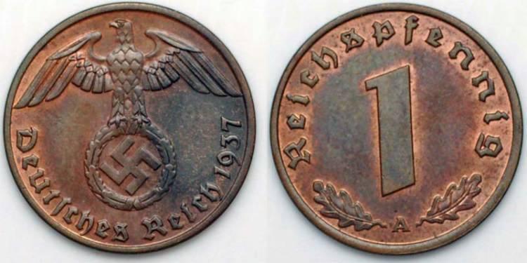 Münze 1 Pfennig Deutsches Reich 1933 1945 Bronze 1937 Preis