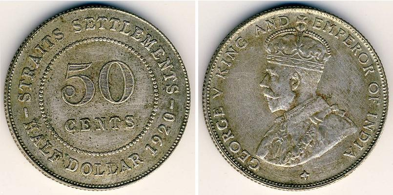 1920 Straits Settlements 50 Cents KM# 35.1 Silver George V Coin VF//EF